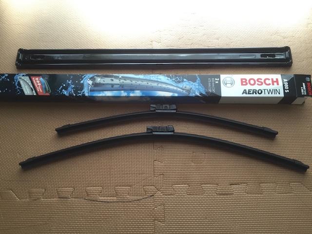 VW ゴルフ5 GTIのフロントワイパーをBOSCH エアロツイン ワイパーブレード A980Sに交換