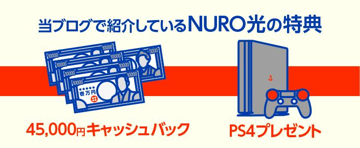 【NURO光】45,000円キャッシュバック特典、PS4プレゼントキャンペーン