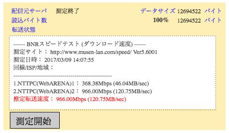 セキュリティソフトなし 無線LAN 下り966Mbps