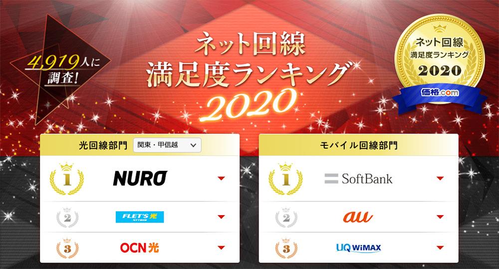 価格.com - ネット回線満足度ランキング2020