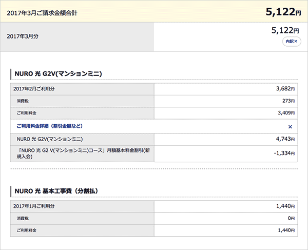 NURO光 利用料金 2017年3月 5,122円(税込)