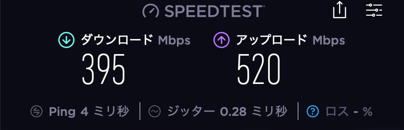 ドコモ光Speedtest結果_LANケーブルカテゴリー6e