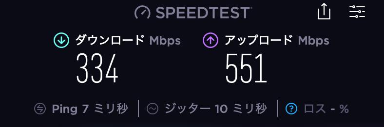 ドコモ光Speedtest結果_ハブ+LANケーブル
