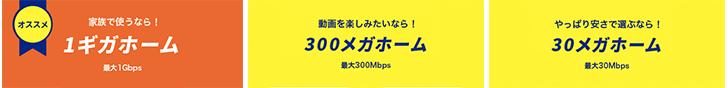【コミュファ光】1Gbps、300Mbps、30Mbpsのプラン