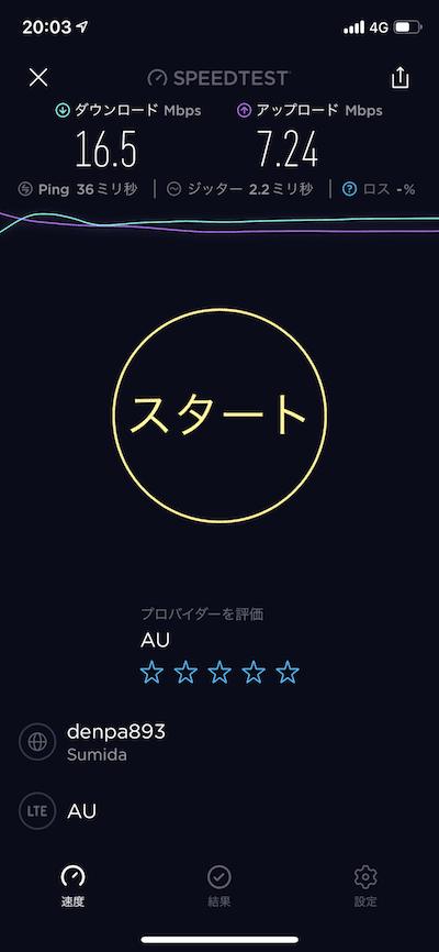 UQモバイルで通信速度を測ったキャプチャ夜