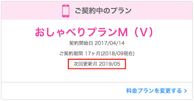 UQモバイル更新月確認キャプチャ