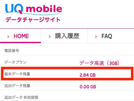 UQモバイルデータチャージサイトでの通信量を確認したキャプチャ