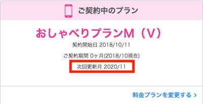 UQモバイルの更新月確認のキャプチャ