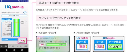 UQ mobileポータルアプリ高速モード節約モード切り替えキャプチャ