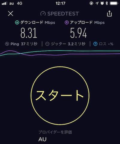 UQモバイルをiPhoneに入れて昼の通信速度を計測したキャプチャ画像