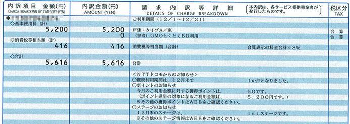 ドコモ光(GMOとくとくBB) 月額料金