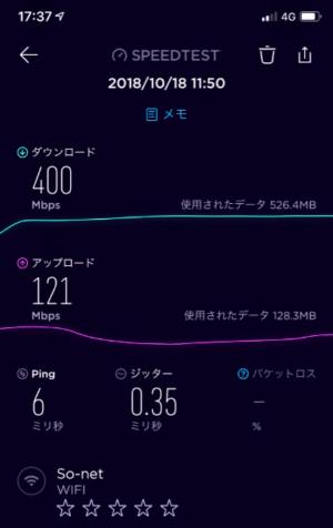 【NURO光】iPhone XSで速度測定 下り400Mbps、上り121Mbps、Ping6ミリ秒