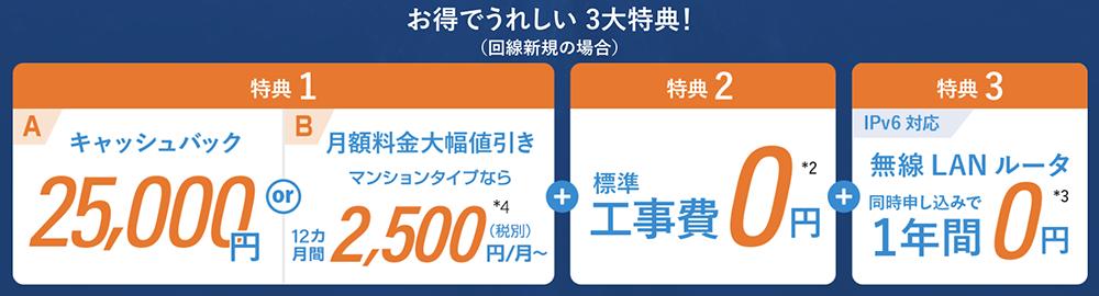 ビッグローブ光 web限定 総額最大61,000円分の特典