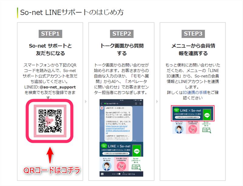 So-netのラインQRコード