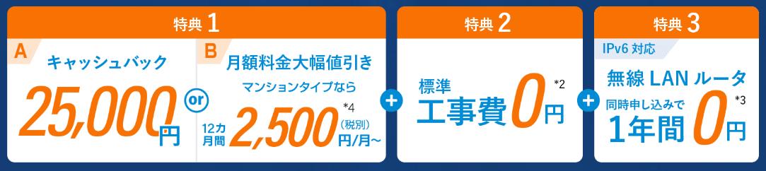 【ビッグローブ光】公式キャッシュバック金額25,000円