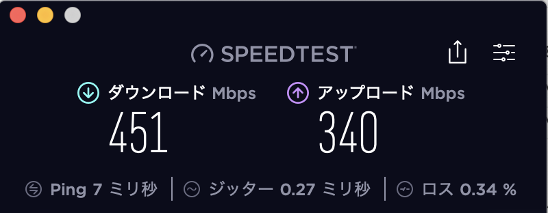 【NURO光】IPv4のみでスピードテスト