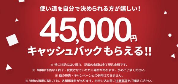 【過去最高額】NURO光 45,000円キャッシュバック