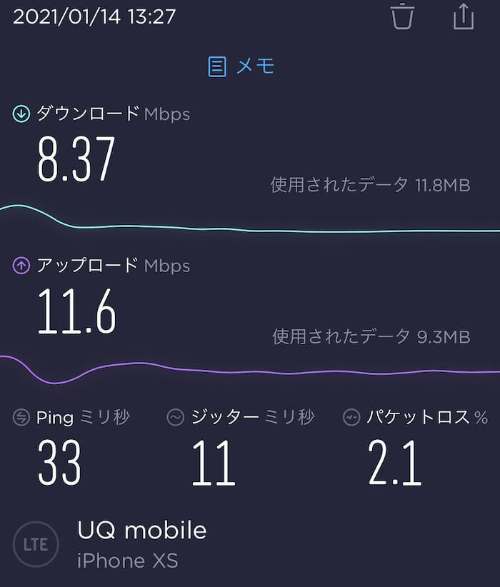 UQモバイルの通信速度 下り8.37Mbps 低速時でも1Mbpsを下回らない